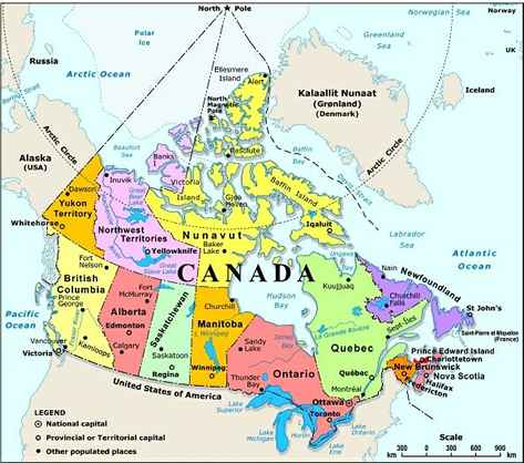 Canada United States And Greenland Political Map Edurete.org